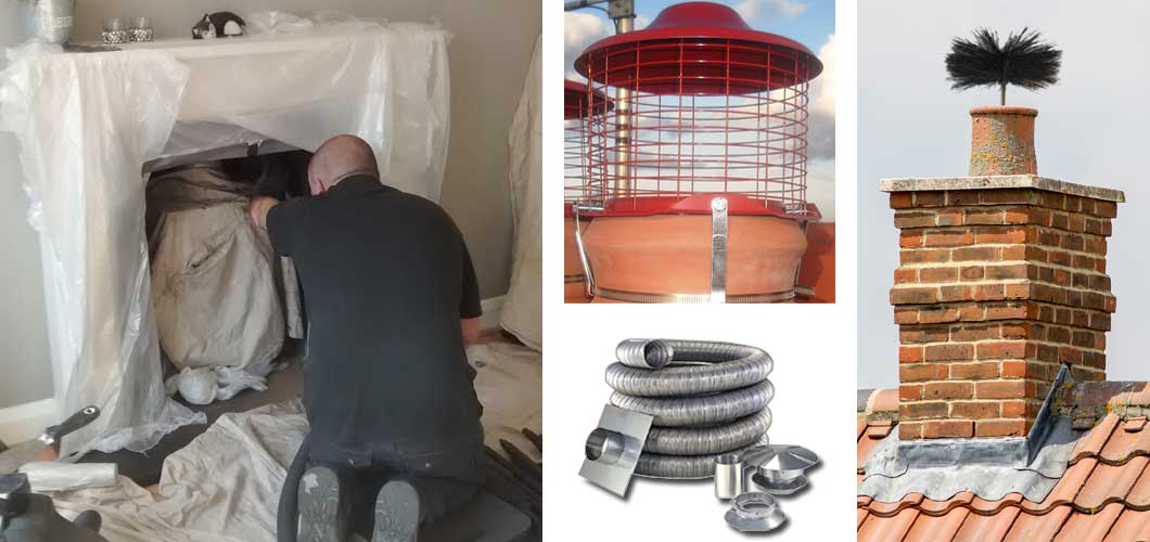 Chimney sweeping chimney liners pots and cowls